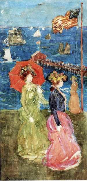 Maurice Brazil Prendergast - Figures under the Flag