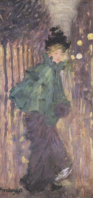 Maurice Brazil Prendergast - Lady on the Boulevard, AKA The Green Cape