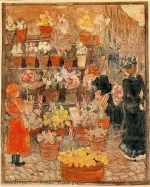 Maurice Brazil Prendergast - Roma, Flower Stall (also known as Flower Stall or Roman Flower Stall)