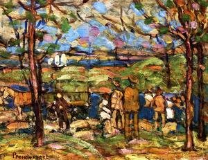 Maurice Brazil Prendergast - Squanton (also known as Men in Park with a Wagon, Squanton)