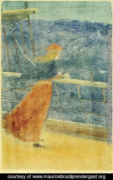 Maurice Brazil Prendergast - Woman on Ship Deck, Looking out to Sea (also known as Girl at Ship's Rail)