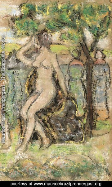 Nude Woman Seated on a Rock