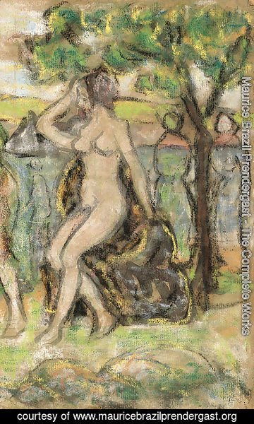 Maurice Brazil Prendergast - Nude Woman Seated on a Rock
