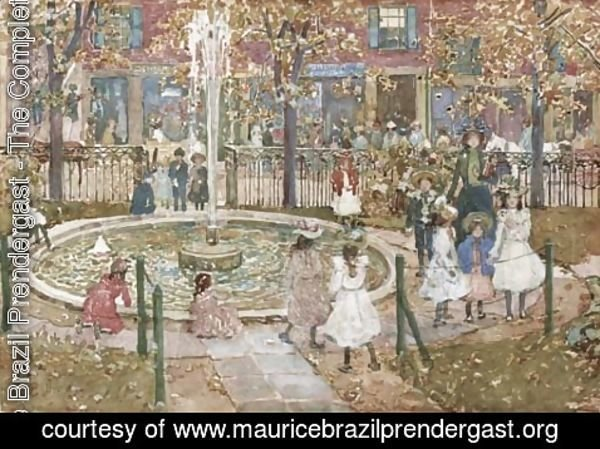 Maurice Brazil Prendergast - Courtyard, West End Library, Boston