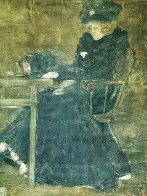 Seated Woman in Blue (also known as At the Cafe)
