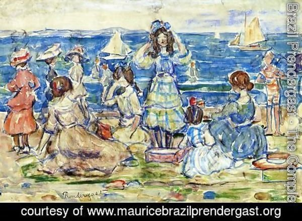 Maurice Brazil Prendergast - Beach Scene With Boats