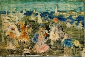 Maurice Brazil Prendergast - Beach Scene With Lighthouse Aka Children At The Seashore