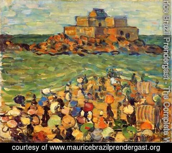 Maurice Brazil Prendergast - Chateaubriands Tomb  St Malo Aka St Malo   Chateaubriands Tomb