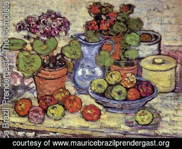 Maurice Brazil Prendergast - Cinerarias And Fruit