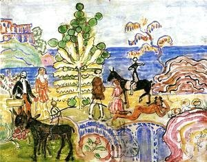 Maurice Brazil Prendergast - Fantasy Aka Fantasy With Flowers  Animals And Houses
