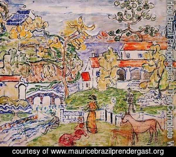 Maurice Brazil Prendergast - Figures And Donkeys Aka Fantasy With Horse