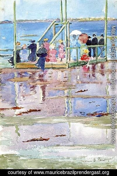 Maurice Brazil Prendergast - Float At Low Tide  Revere Beach Aka People At The Beach