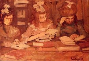 Maurice Brazil Prendergast - In The Library Aka Three School Girls