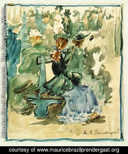 Maurice Brazil Prendergast - Ladies Seated On A Bench Aka Ladies In The Park