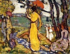 Maurice Brazil Prendergast - Lady In Yellow Dress In The Park Aka A Lady In Yellow In The Park