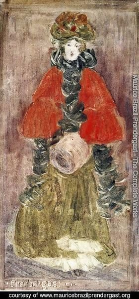 Maurice Brazil Prendergast - Lady With Red Cape And Muff