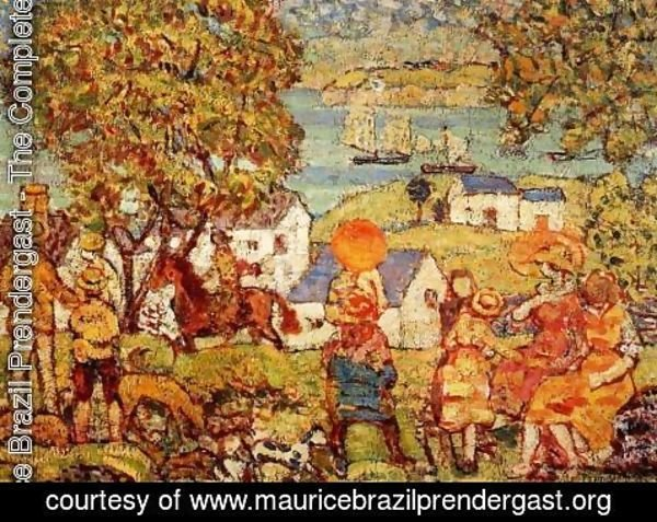 Maurice Brazil Prendergast - Landscape Figures  Cottages And Boats