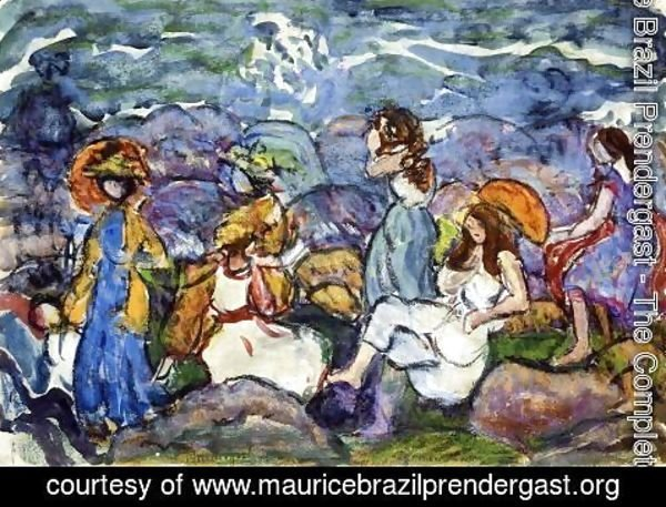Maurice Brazil Prendergast - On The Rocks  North Shore