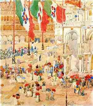 Maurice Brazil Prendergast - Piazza Of St  Marks Aka The Piazza  Flags  Venice