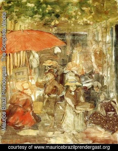 Maurice Brazil Prendergast - Picnic With Red Umbrella