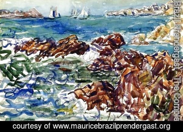 Maurice Brazil Prendergast - Rocky Cove With Village