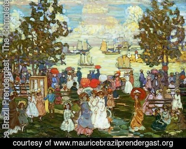 Maurice Brazil Prendergast - Salem Willows Aka The Promenade  Salem Harbor