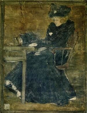 Maurice Brazil Prendergast - Seated Woman In Blue Aka At The Cafe