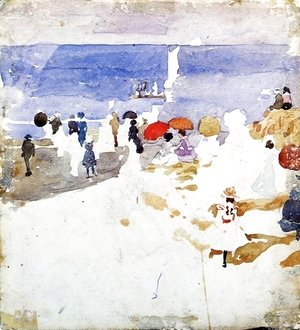 Maurice Brazil Prendergast - Sketch   Figures On Beach Aka Early Beach