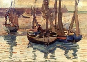 Maurice Brazil Prendergast - Small Fishing Boats  Treport  France