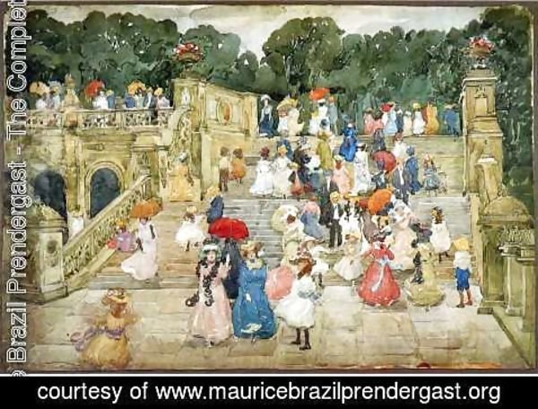 Maurice Brazil Prendergast - The Mall  Central Park Aka Steps  Central Park Or The Terrace Bridge  Central Park