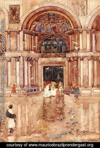 Maurice Brazil Prendergast - The Porch With The Old Mosaics  St  Marks  Venice