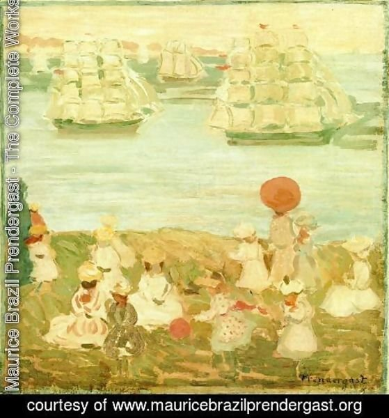 Maurice Brazil Prendergast - The Pretty Ships Aka As The Ships Go By