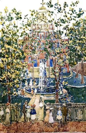 Maurice Brazil Prendergast - The West Church Aka Fountain At The West Church  Boston