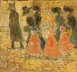 Maurice Brazil Prendergast - Three Little Girls In Red