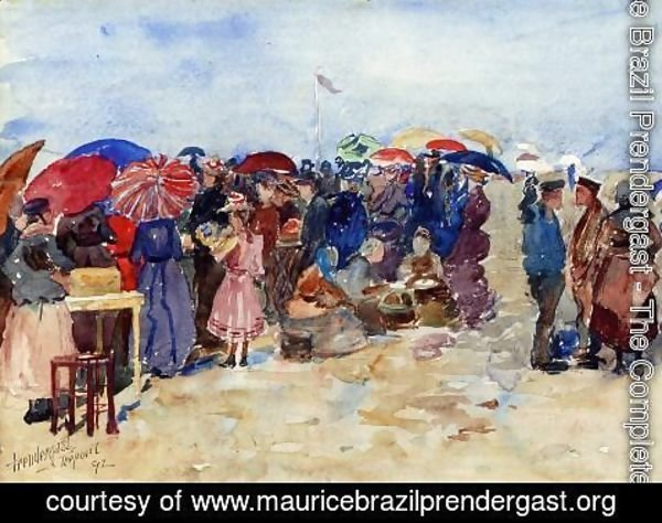 Maurice Brazil Prendergast - Treport Beach Aka A Very Sunny Day  Treport