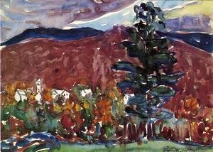 Maurice Brazil Prendergast - Village Against Purple Mountain