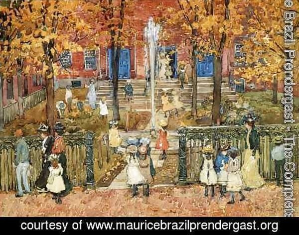 Maurice Brazil Prendergast - West Church  Boston Aka Red School House  Boston Or West Church At Cambridge And Lynde Streets