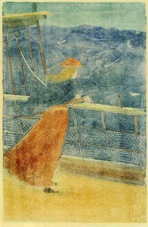 Maurice Brazil Prendergast - Woman On Ship Deck  Looking Out To Sea Aka Girl At Ships Rail